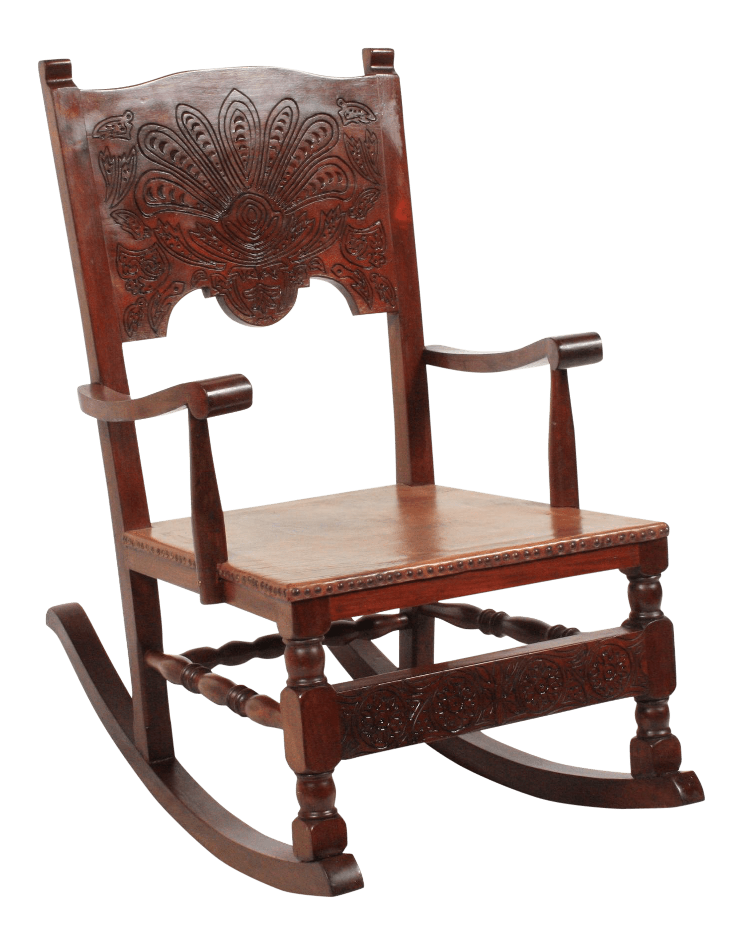 Leather Rocking Chair 1890s Victorian Leather Rocking Chair