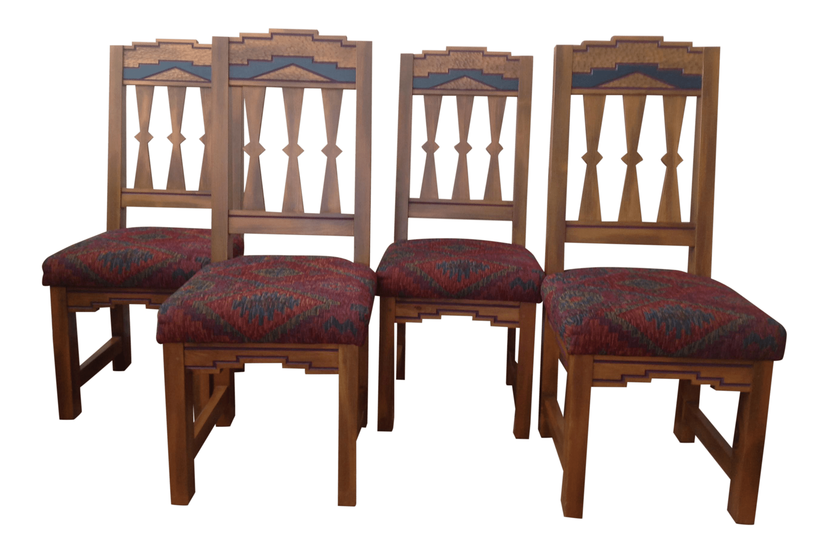 southwest dining chairs black metal folding garden contemporary designed set of 8 chairish