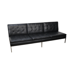 Armless Sofas Best Sofa For Cat Hair Florence Knoll Mid Century Black Leather Chairish