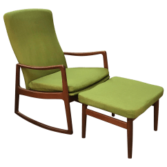 Rocking Chair With Footstool India Hans Wegner Shell Teak Danish And Ottoman Chairish