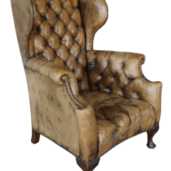 White Leather Wingback Chair High Back Outdoor Cushions Australia Antique English Tufted Georgian Style Chairish