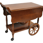 Vintage Monitor Solid Cherry Wood Colonial Style Rolling Bar Tea Cart Server Chairish
