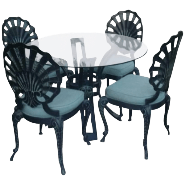 Art Deco Outdoor Patio Furniture - Table & 4 Chairs | Chairish