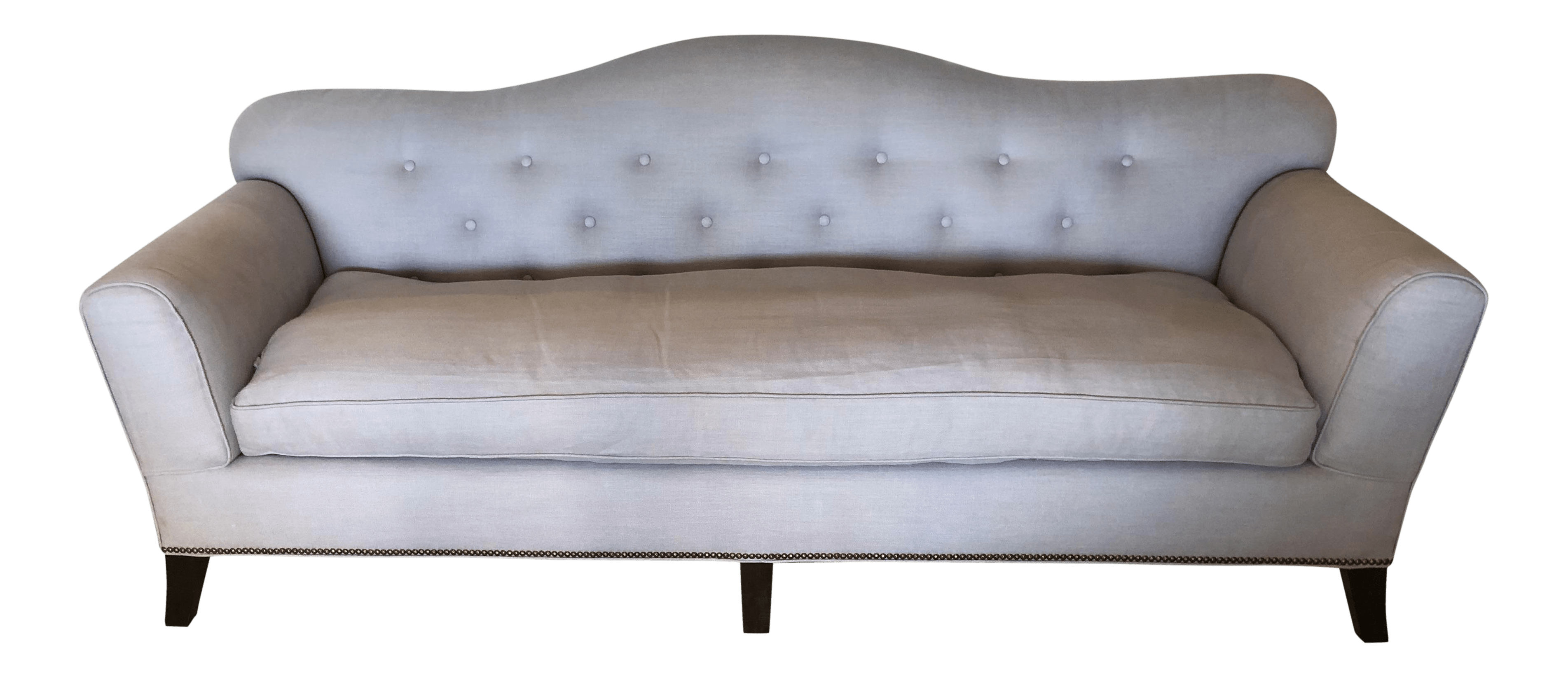 french linen tufted sofa modern corner sofas 1940 s vintage style button chairish