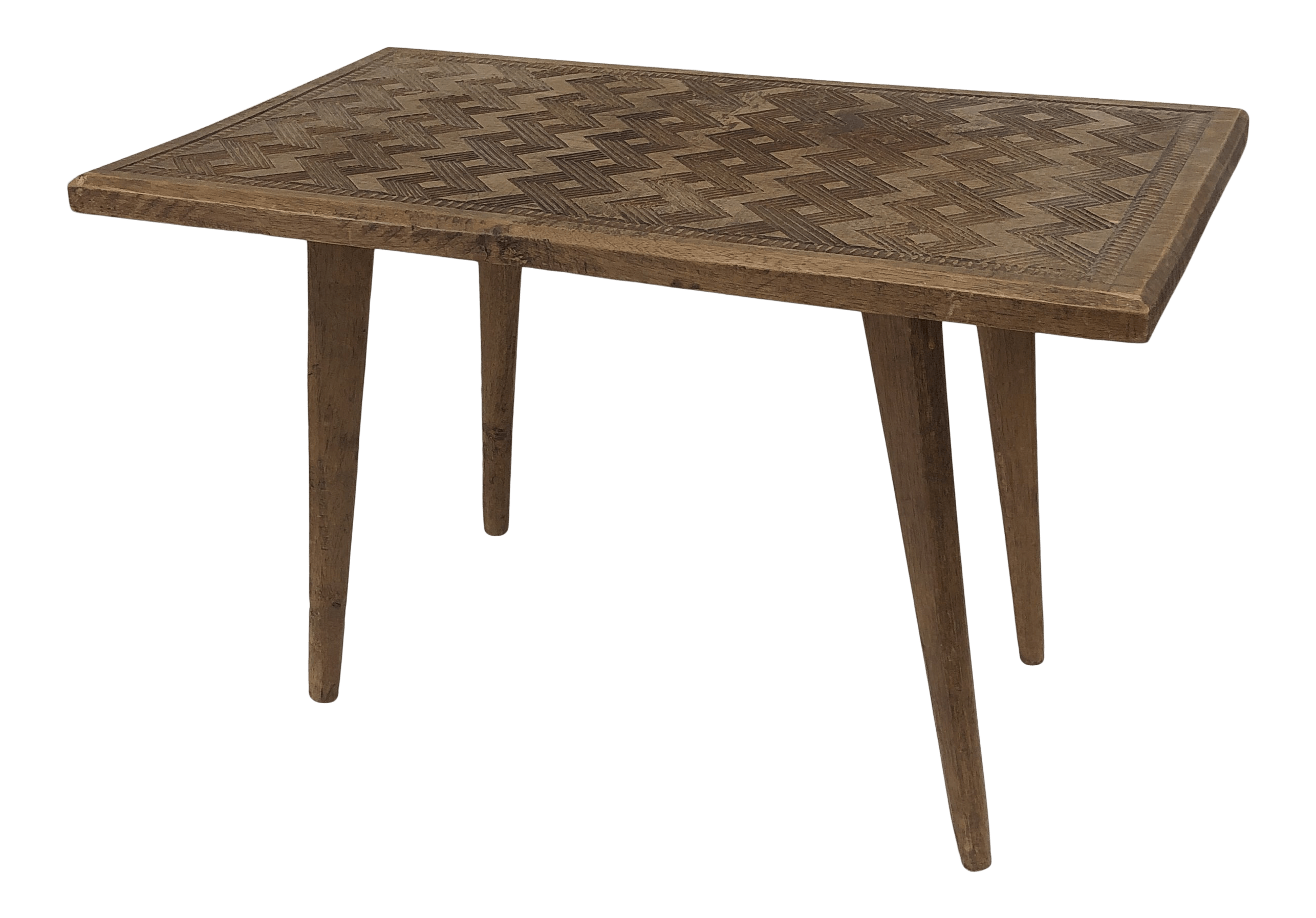 hand carved mid century walnut small coffee table