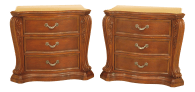 Traditional Cherry 3 Drawer Oversized Nightstand Chests A Pair