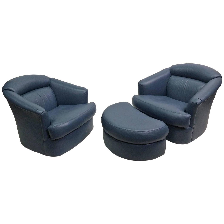 swivel chair ireland desk target au milo baughman pair of blue chairs and ottoman chairish