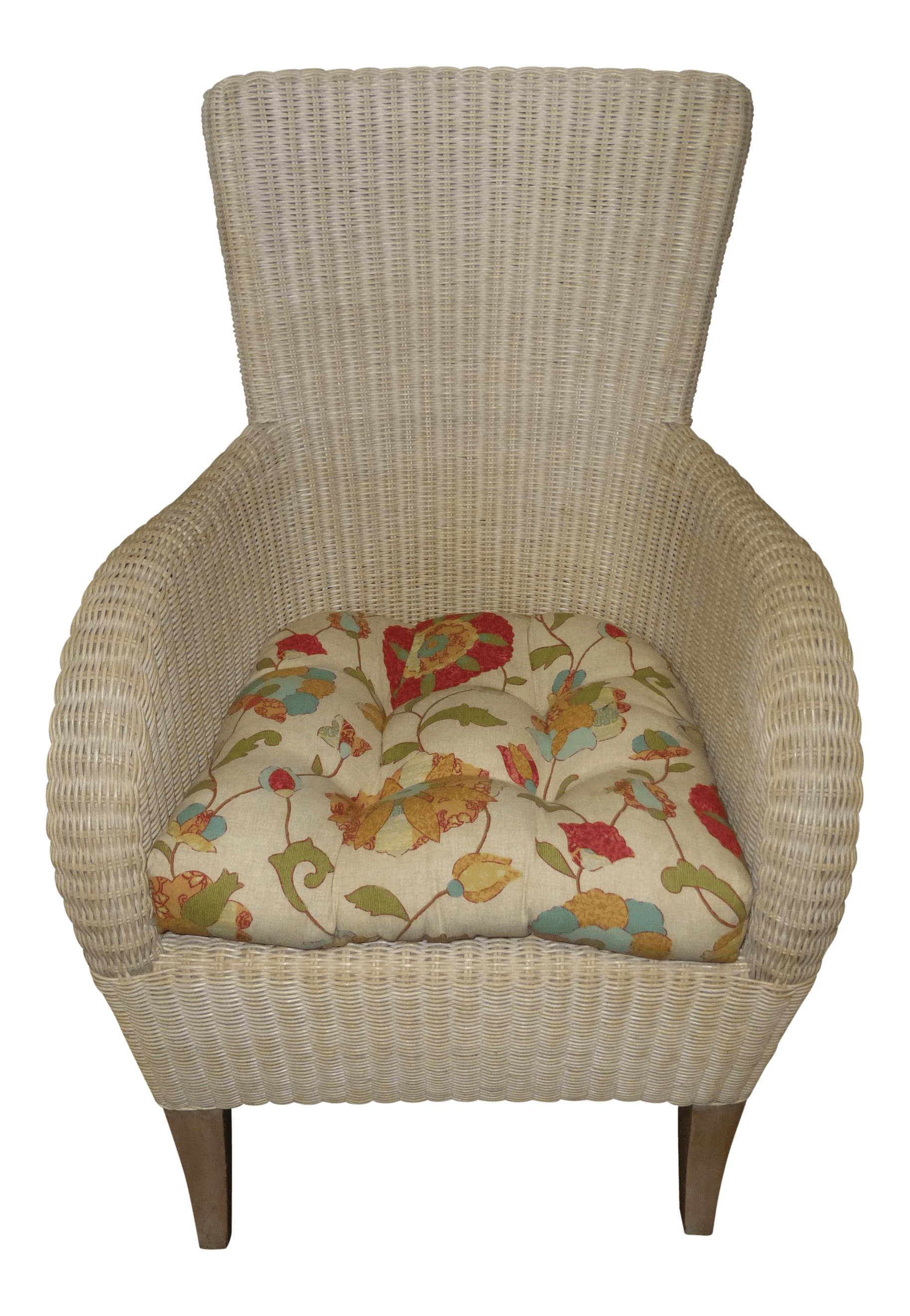 Rattan Accent Chair 1990s Vintage White French Country Cottage Beige Rattan Accent Chair