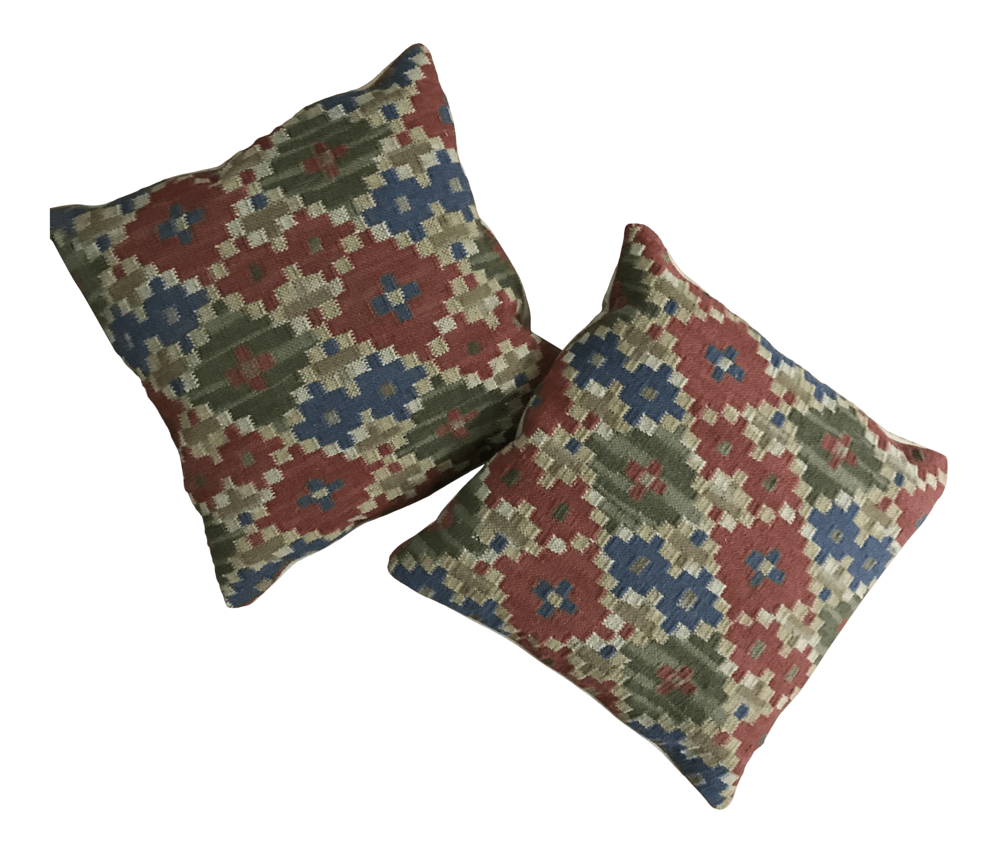 pottery barn square kilim tapestry pillows a pair