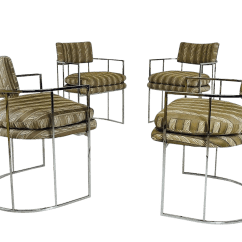 Milo Baughman Dining Chairs Leather Belt Chair Set Of Four Chrome Barrel Back Chairish For Sale