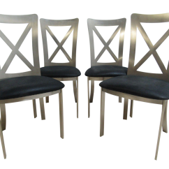 Industrial Style Dining Chairs Felt Chair Protectors Vintage Stainless Set Of 4 Chairish