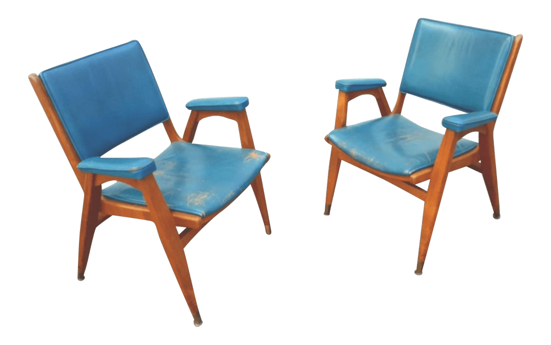 Teal Rocking Chair Vintage Gio Ponti Chairs In Teal Leather Pair Chairish