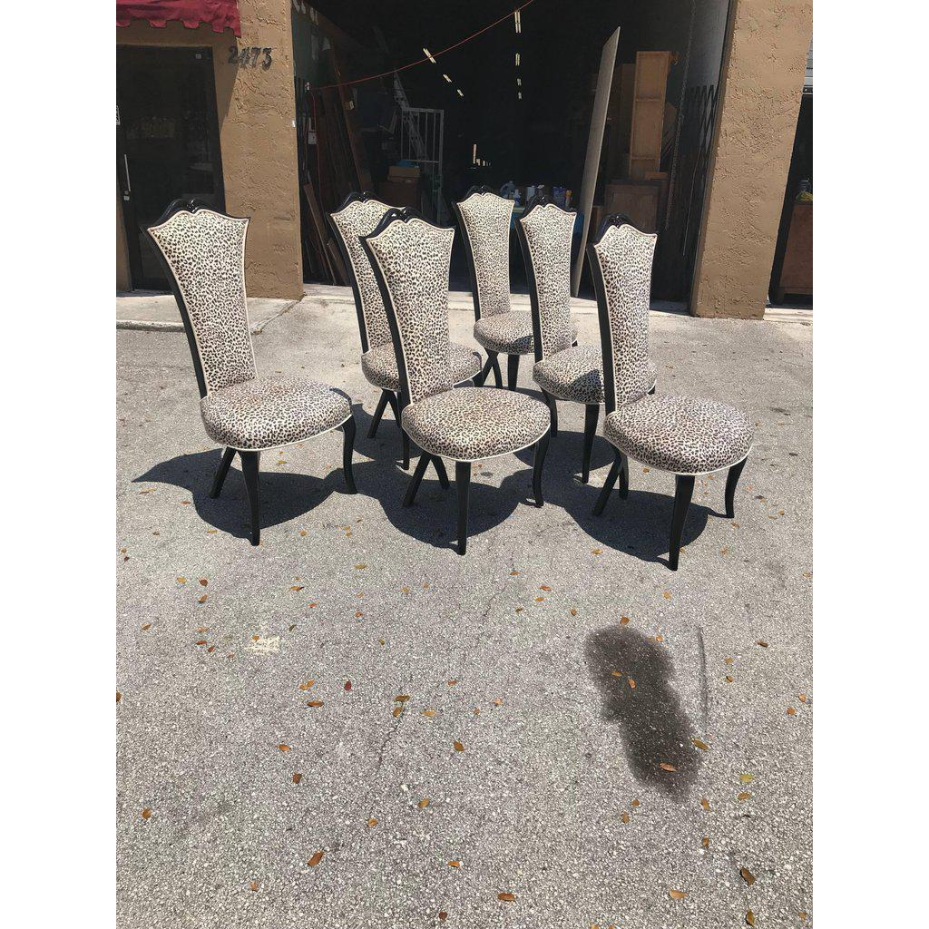 tall back dining chairs lounge chair cushions cheap fine 1940s french art deco ebonized set of elegant 6 beautiful design