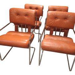 Dining Chairs Italian Design Recliner Canada Burnt Orange Tucroma Leather And Chrome In Mid Century Set Of 4 Chairish