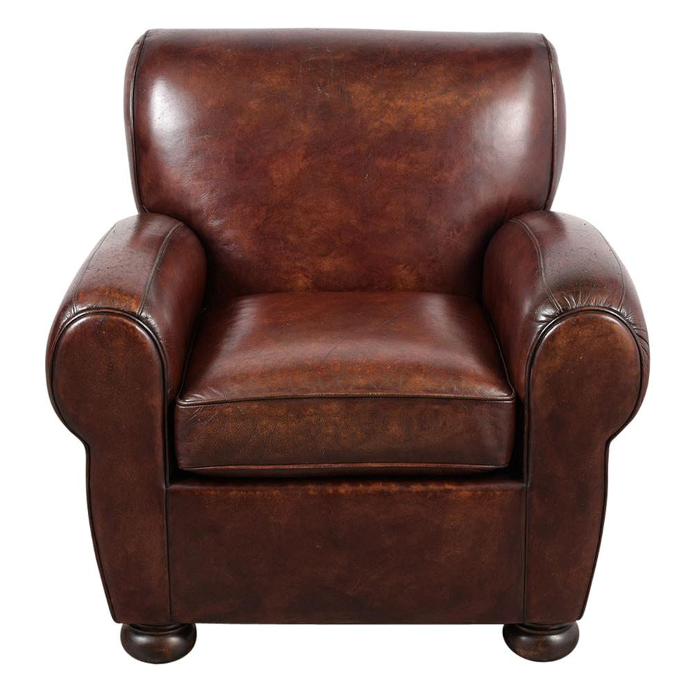 art deco style club chairs lift chair rentals pair of leather chairish this set 1990 s french features the upholstery