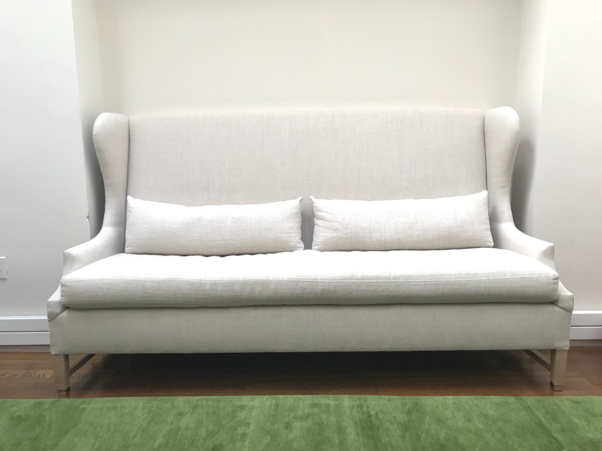 belgian linen sofa vintage chesterfield sleeper verellen high back belgium chairish i bought this from to use in my dining room had intended