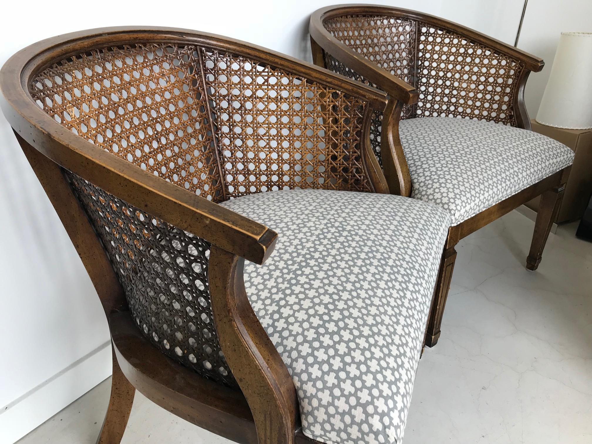 mid century modern cane barrel chairs west elm outdoor chair cushions 1950s back club a pair for sale