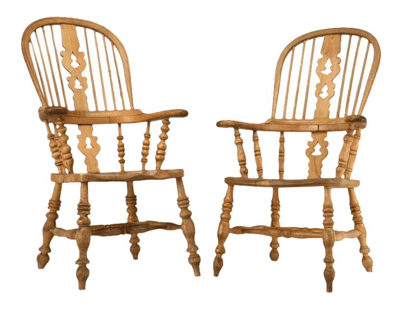 oak windsor chairs fisher price swing chair lovely circa 1820 original antique english his her s elm a pair