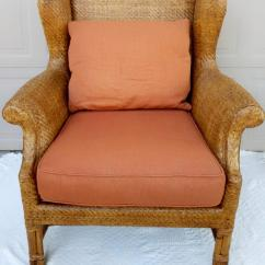 Rattan Wingback Chairs Ralph Lauren Chair Vintage Baker Furniture Chairish Part Of S Milling Road Collection A Gorgeous With Upholstered Seat And Back Cushion