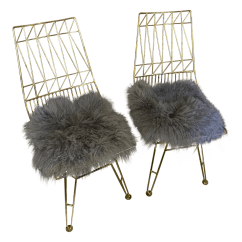 Steel Chair Gold Fujita Massage Contemporary Chairs A Pair Chairish For Sale