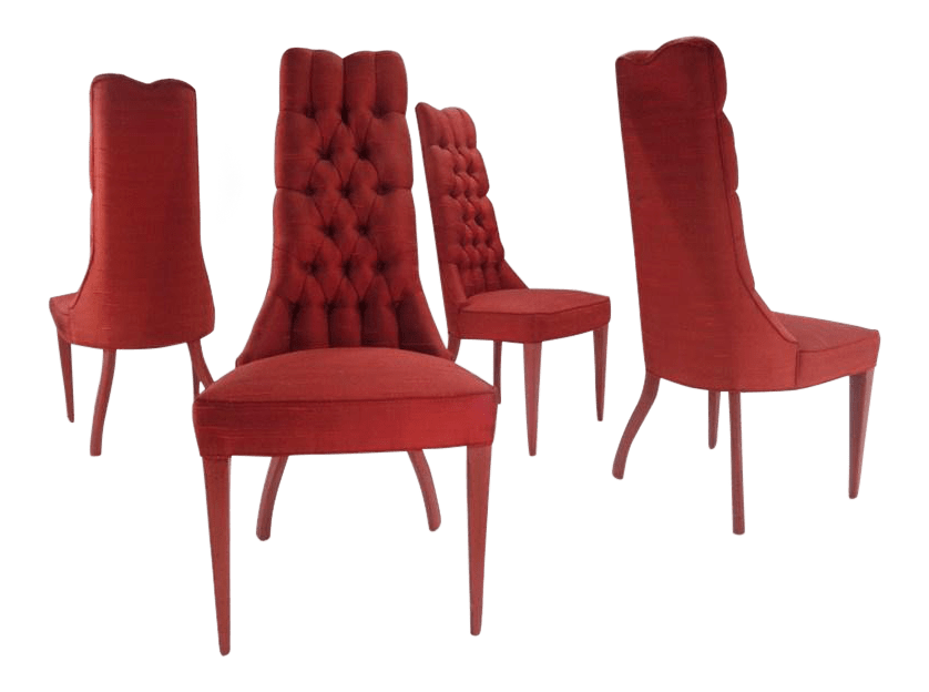 red tufted dining chair mainstays outdoor rocking white zasu pitt s hollywood regency glam chairs chairish for sale