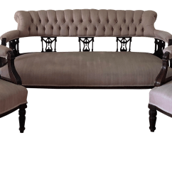 Tufted Button Sofa Modular Sectional Leather Antique Carved Victorian Back Set Chairish