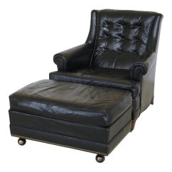 Black Leather Club Chair And Ottoman Elegant Event Cover Hire Sherrill Chairish For Sale
