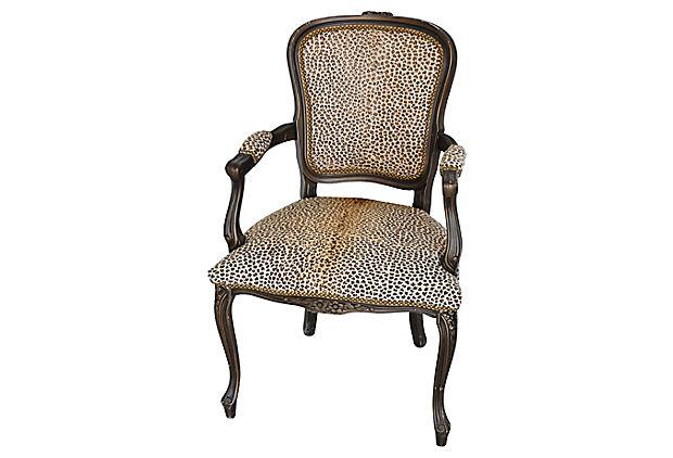 hair on hide office chair folding chairs sale carved armchair w cowhide cheetah spots chairish for image