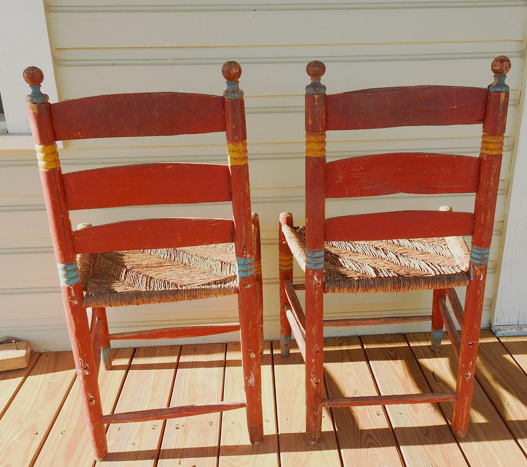 rush seat chairs gold bow chair covers vintage painted mexico folk art a pair chairish for sale in san antonio