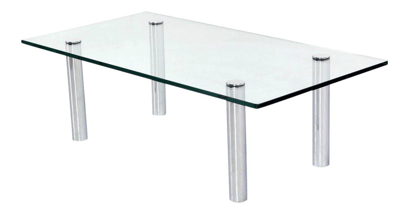 Mid Century Modern Chrome Cylinder Legs Glass Rectangular Coffee Table By Pace
