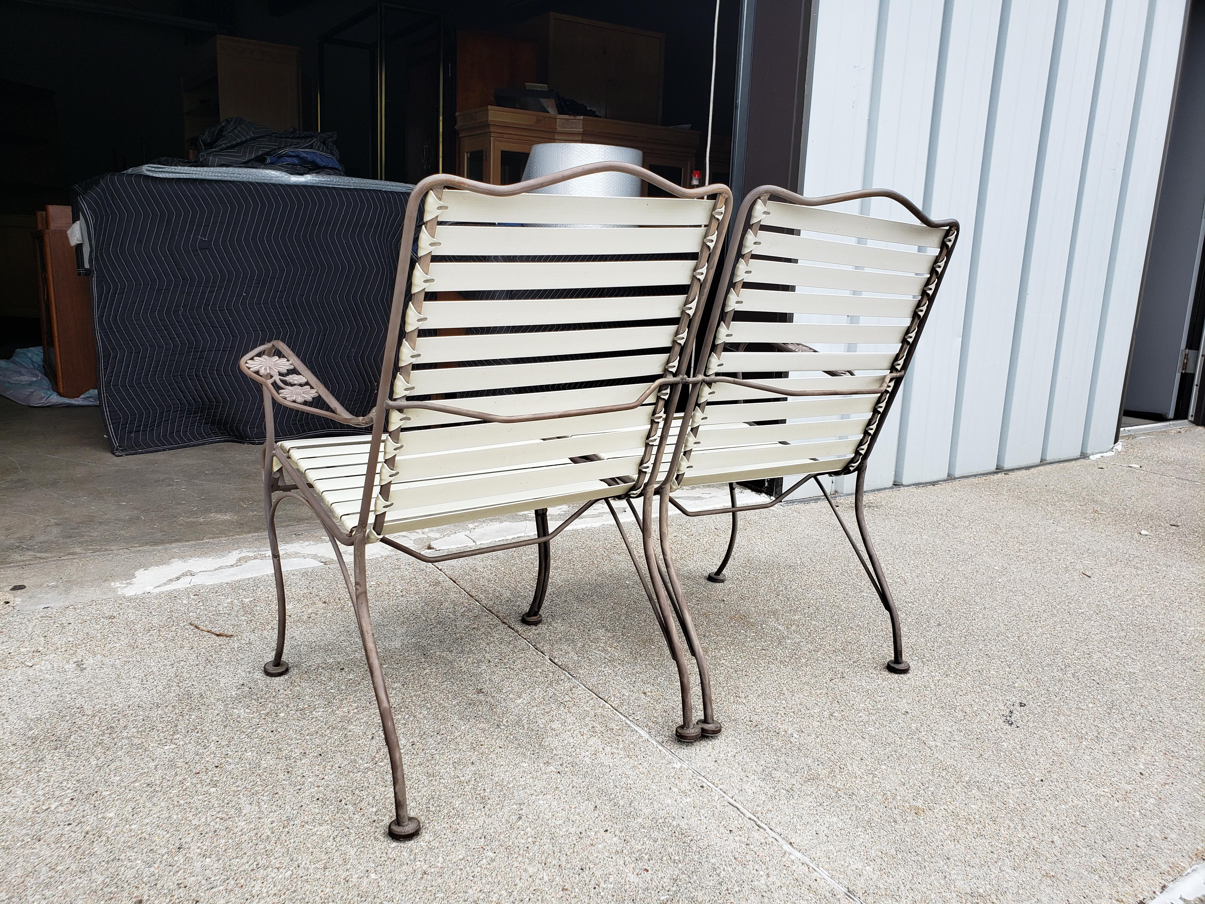 1960s vintage woodard ionian wrought iron patio set 3 pieces
