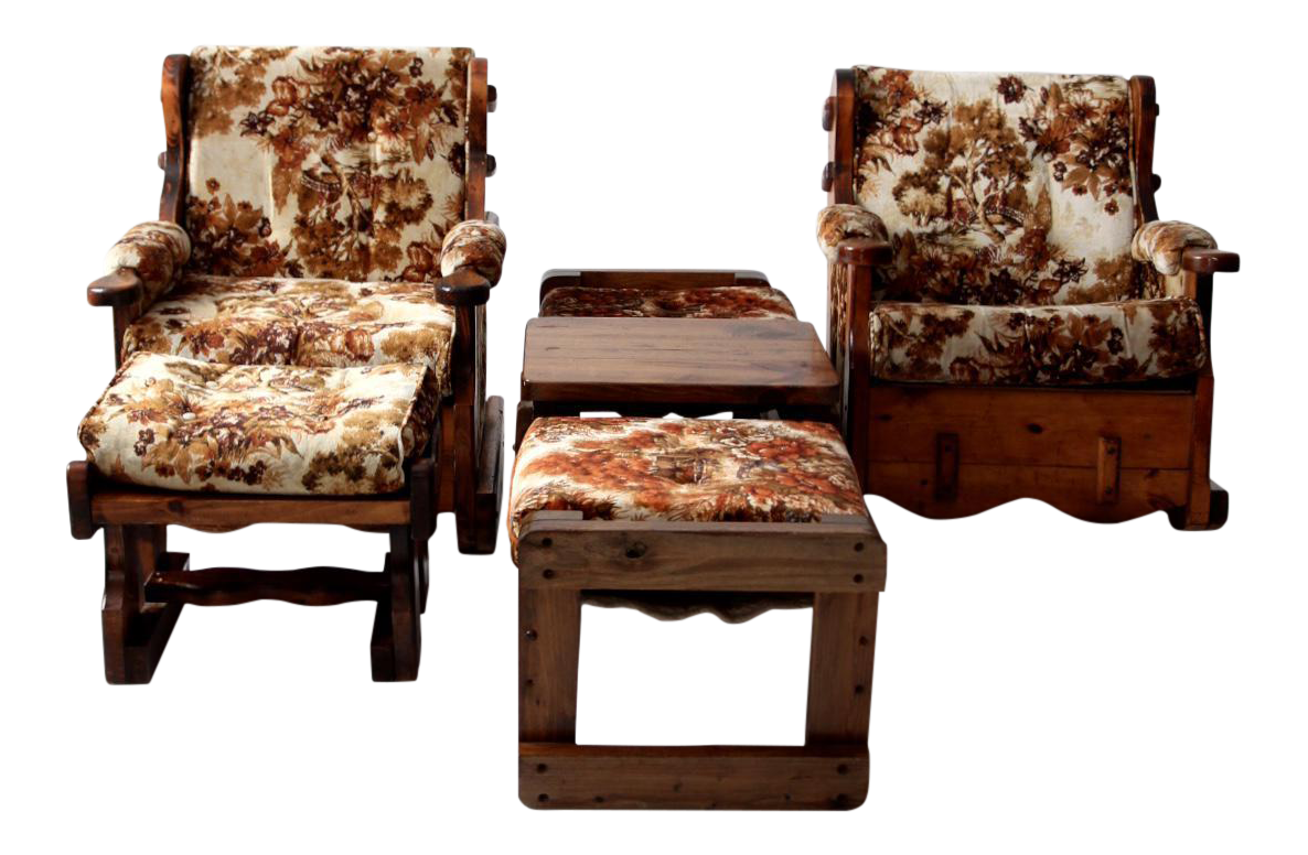 Chairs With Ottoman Vintage Floral Lodge Chairs And Ottoman Set Of 4