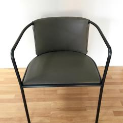 Leather Armchair Metal Frame Staples Computer Chairs Gray Cowhide And Framed Chairish With Black Excellent Condition