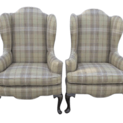 Ethan Allen Wingback Chairs Industrial Kitchen A Pair Cream Plaid Ralph Lauren Style For Sale