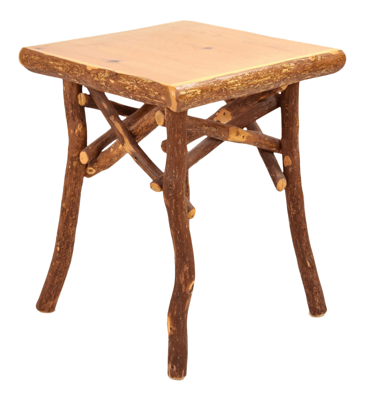 vintage rustic lodge cabin hickory log end occasional table