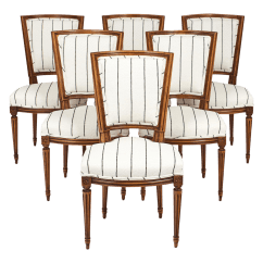 Striped Dining Chair Wing Slipcovers With Separate Cushion Cover World Class Louis Xvi Style Chairs Set Of 6 Decaso For Sale