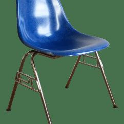 Fiberglass Shell Chair Black White Dining Herman Miller Eames In Royal Blue Chairish For Sale
