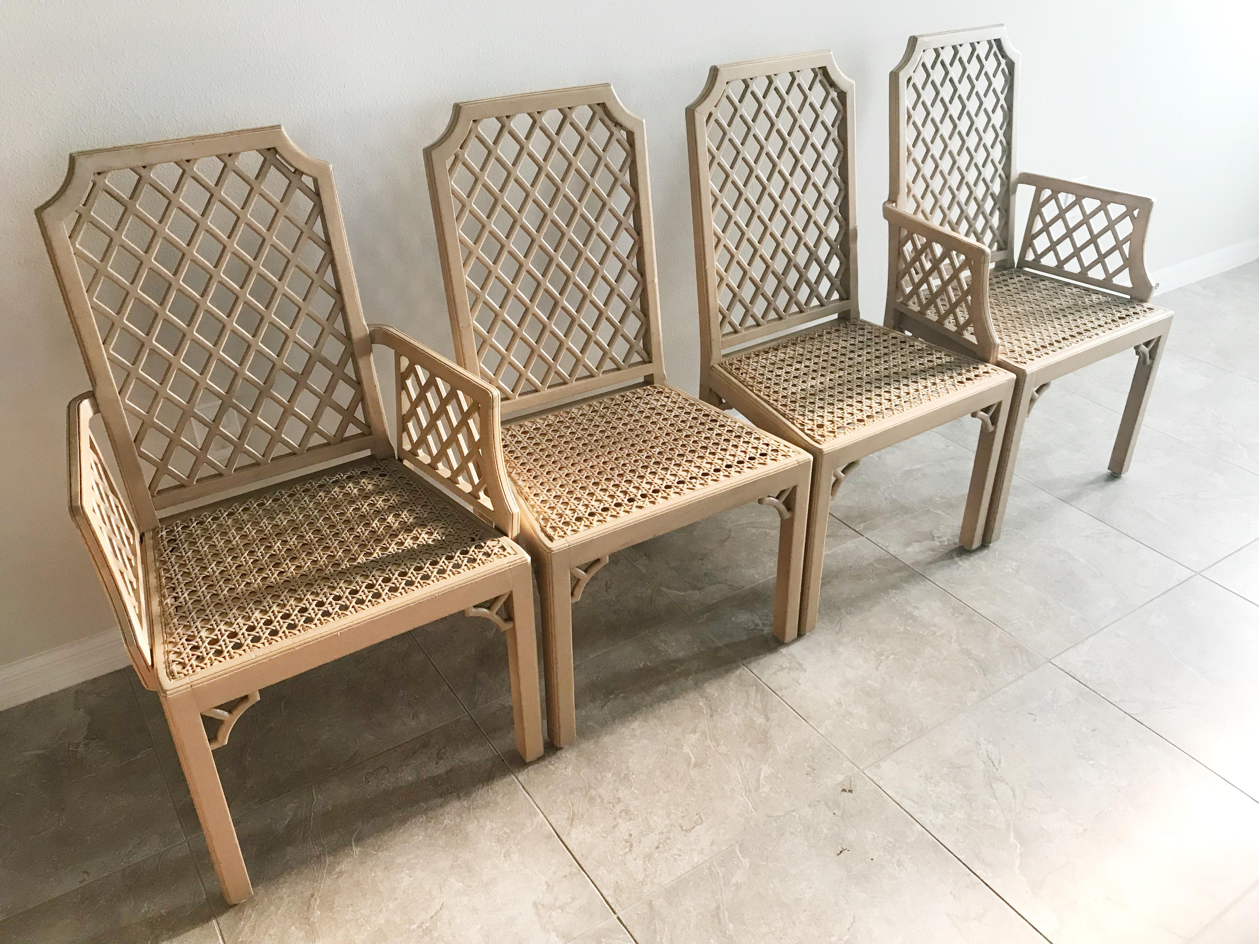 dining chairs with caning chair and half sleeper vintage lattice back fretwork details set of four seats
