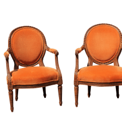 Orange Upholstered Chair Lawn Covers Walmart 1940s French Country Arm Chairs A Pair Chairish