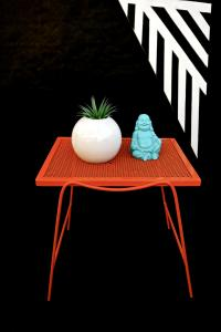 Mid-Century Modern Hermes Orange Metal Patio Side Tables ...