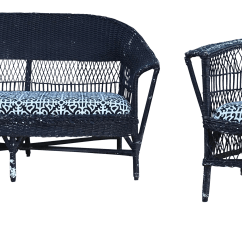Antique Wicker Chairs Comfortable Office Loveseat Chair A Pair Chairish For Sale