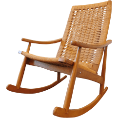 Wicker Rocking Chairs Power Recliner Canada Vintage Yugoslavian Hans Wegner Style Chair Chairish For Sale