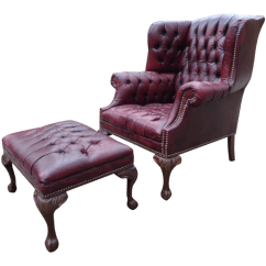 Leather Wingback Chairs Stool Chair In Chinese Vintage Used Chairish Oxblood Tufted Chesterfield Ottoman