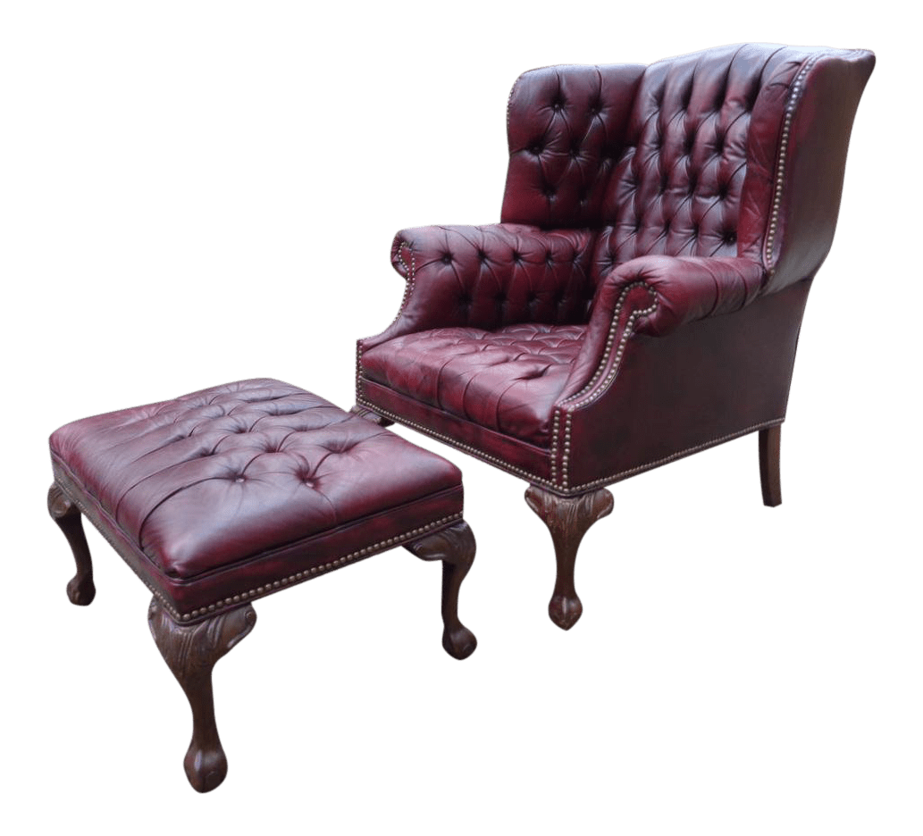oxblood leather wing chair sealy posturepedic office vintage used wingback chairs chairish tufted chesterfield ottoman