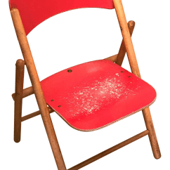 Wooden Folding Chairs For Sale Fishing Chair Gimbal Vintage Red Children S Wood Chairish
