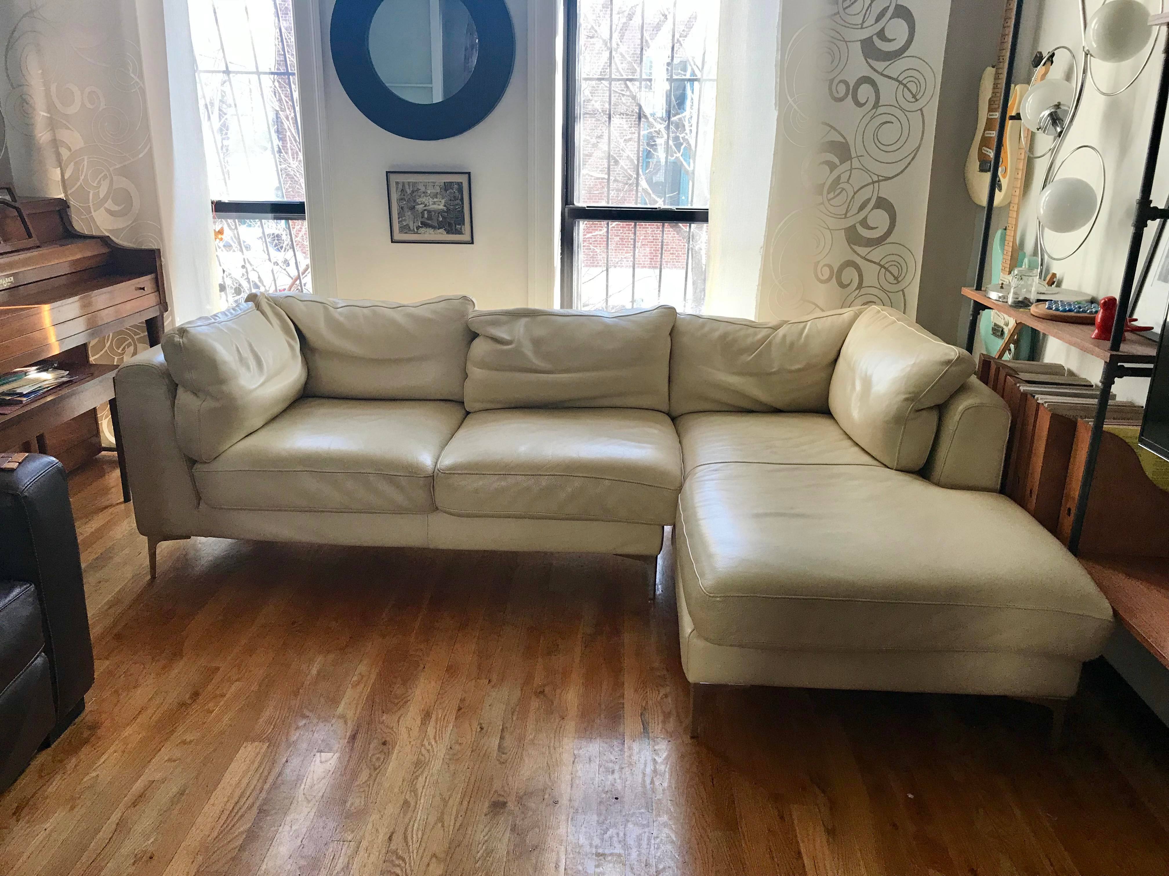 nicoletti lipari grey italian leather sofa chaise sofas with trundle beds for sale home and textiles