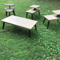 Vintage Atomic Coffee Table & End Tables