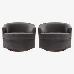 Swivel Tub Chairs Modern Ergonomic Office Chair In Shadow Velvet Pair Chairish Mid Century For Sale Image
