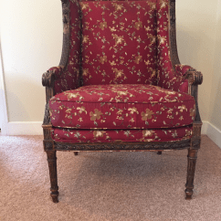 Floral Upholstered Chair Massage Las Vegas Antique 18th Century Red Chairish For Sale Image 13 Of