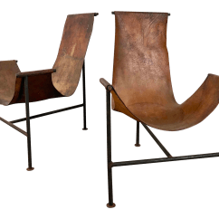 Sling Chairs For Sale Wicker Chair Replacement Cushion Covers Lovely Pair Distressed Leather Iron T Frame 1950 S Decaso